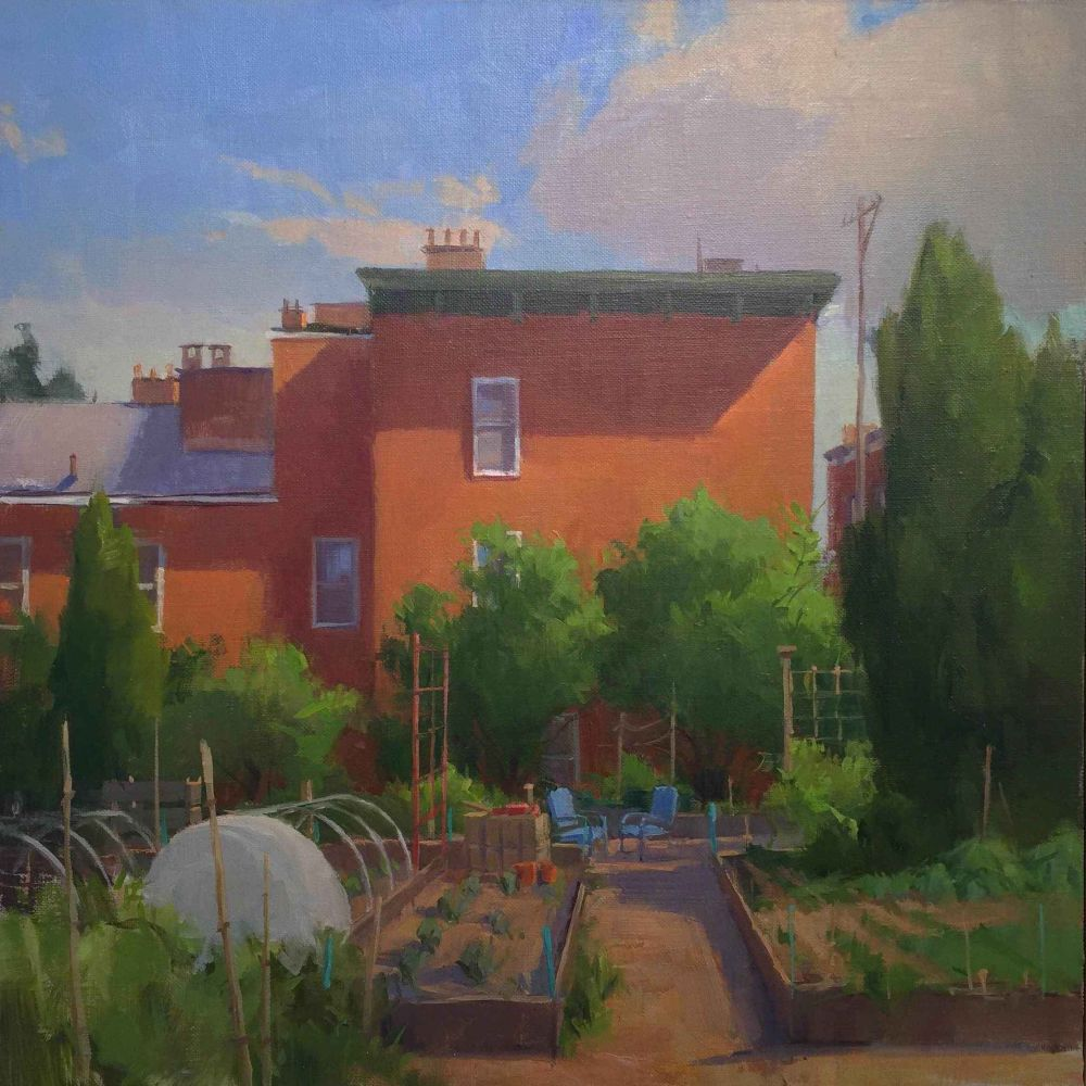 """Jeffrey Reed, Spring Garden East 16"""" x 16""""  Oil On Canvas"""