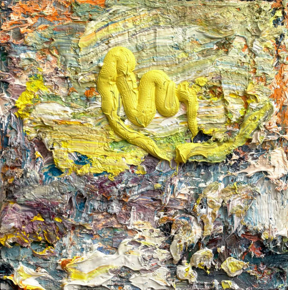 "Ballads Of The City, Yellow Dragon Over Manhattan  10"" x 10""  Oil On Linen"