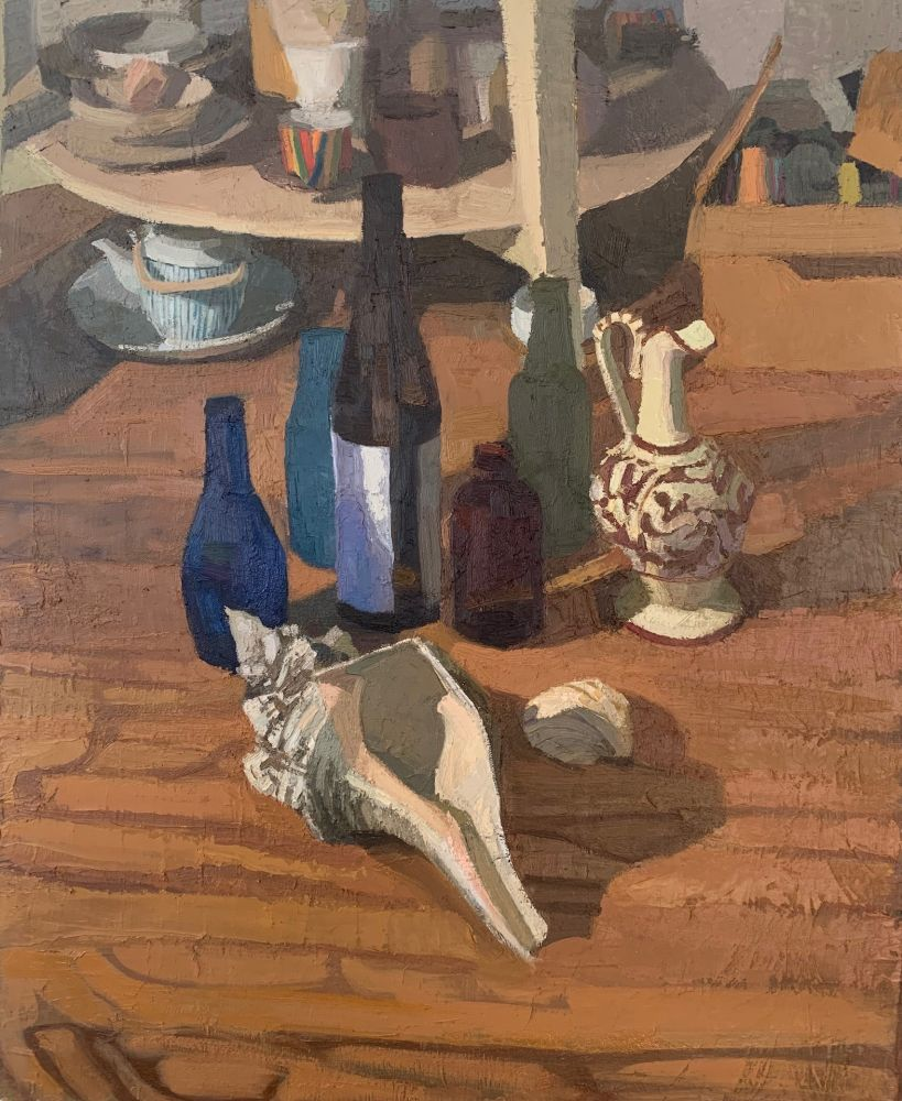 """Foot Of The Table  22"""" x 18""""  Oil On Canvas Mounted On Panel"""
