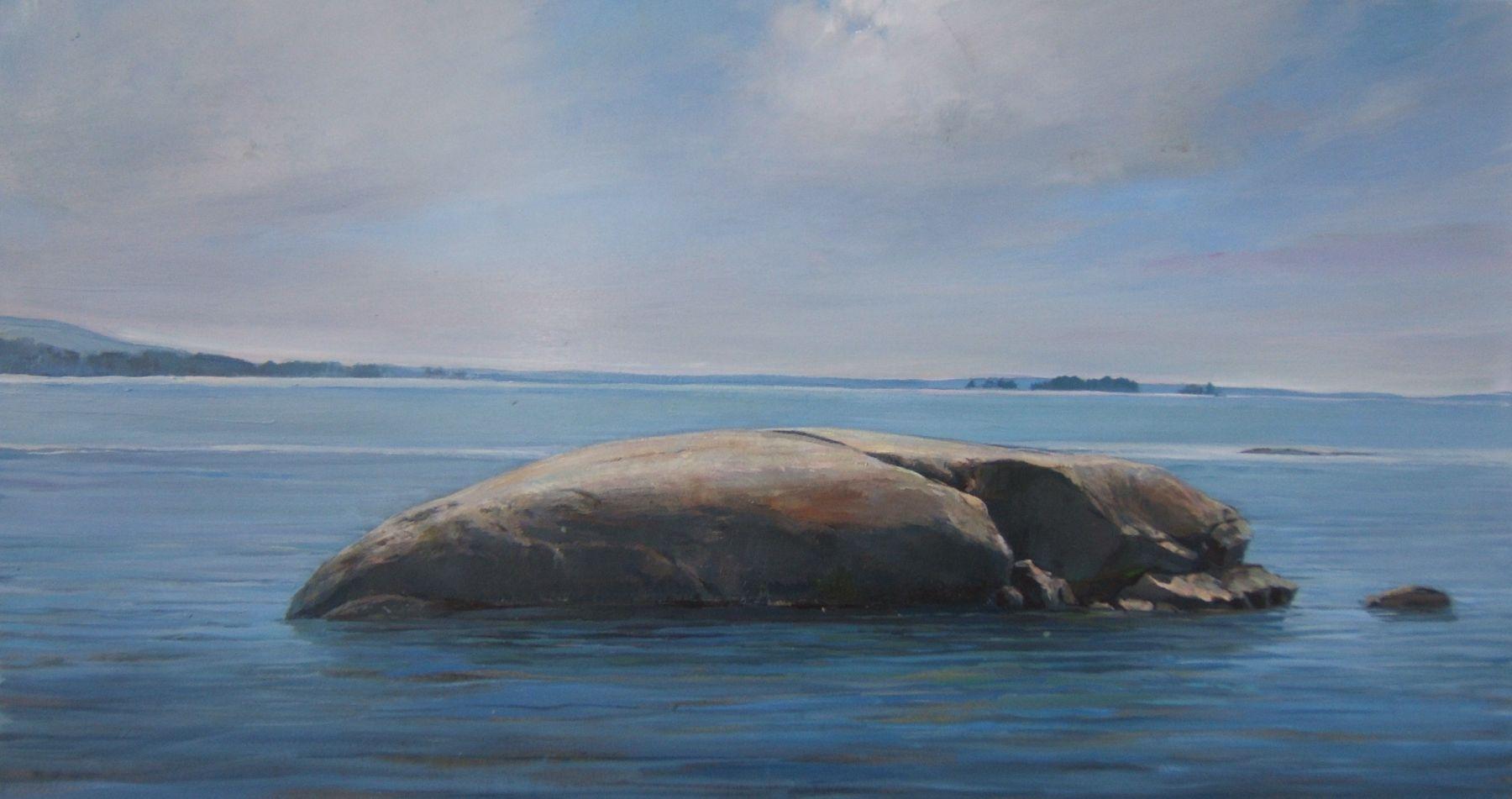 """Whale Rock II  16"""" x 30"""" Oil On Panel"""
