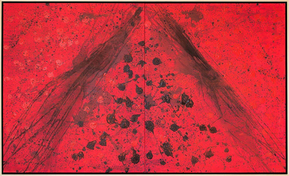 J. Steven Manolis  REDWORLD Masculine, 2016 Acrylic and Latex Enamel on Canvas 120 x 72 inches