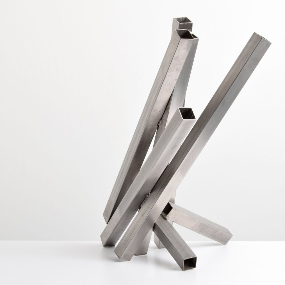 Tony Rosenthal, N.A. Crocus, 1979 Sculpture of Welded Stainless Steel 33.5 x 24 x  20 inches For sale at Manolis Projects Gallery Miami, FL