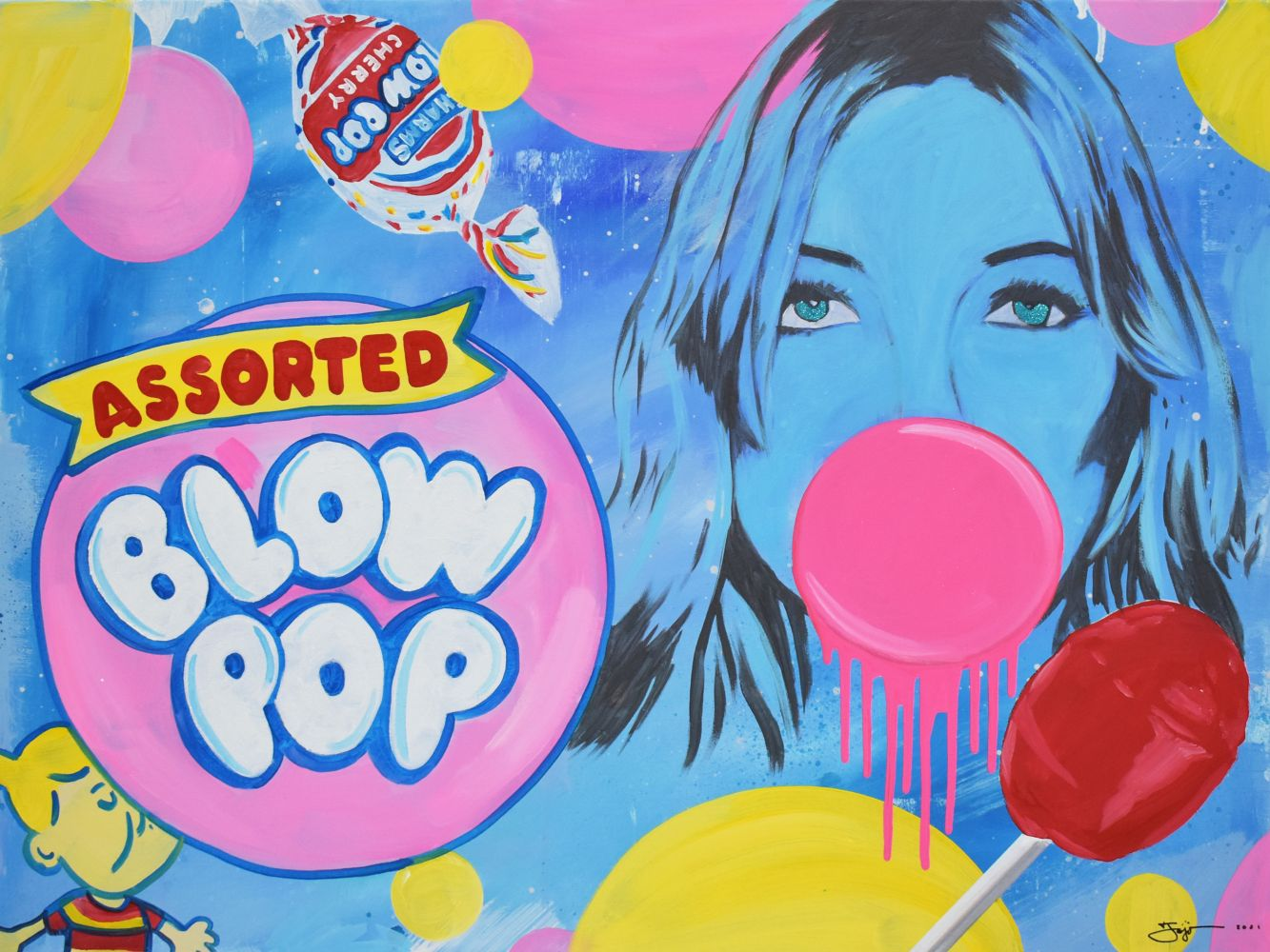 Jojo Anavim, Blow Pop, 2020, Acrylic on canvas, 30 x 40 inches, For sale at Manolis Projects Art Gallery, Miami Fl