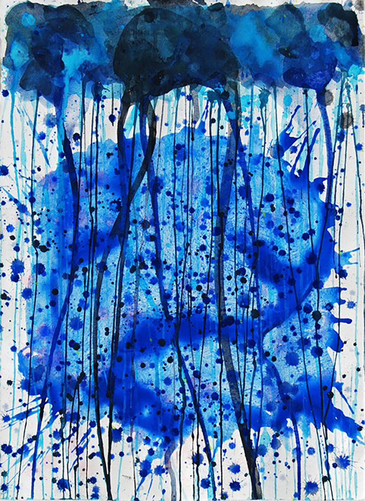 j-steven-manolis, Jellyfish, 2007, 31 x 23 inches, 2007.05, Abstract expressionism paintings For sale at Manolis Projects Art Gallery, Miami, Fl