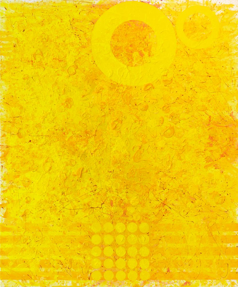 J.Steven Manolis, Sunshine (Summer Solstice), 2021, Acrylic and Latex Enamel on canvas, 72 x 60 inches, Yellow Abstract Expressionism Paintings for Sale at Manolis Projects Art Gallery, Miami Fl