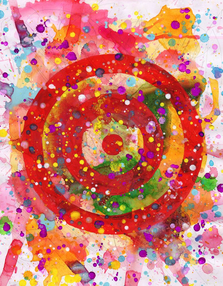 J. Steven Manolis, Concentric, 2014.01, watercolor, acrylic and gouache on paper, 14 x 11 inches, Abstract expressionism paintings for sale at Manolis Projects Art Gallery, Miami, Fl