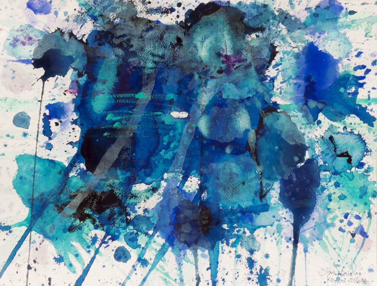 J. Steven Manolis, Splash Key West, 2016-1216.02, watercolor and gouache on watercolor paper, 12 x 16 inches, Abstract expressionism paintings for sale at Manolis Projects Art Gallery, Miami, Fl