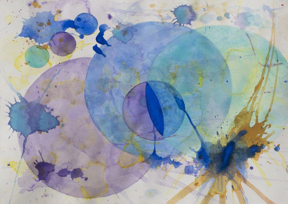 J. Steven Manolis, Santa Fe Dreaming (Concentric+Solid), 2016, Watercolor on paper, 12 x 16 inches, 12.16.01, For sale at Manolis Projects Art Gallery, Miami Fl