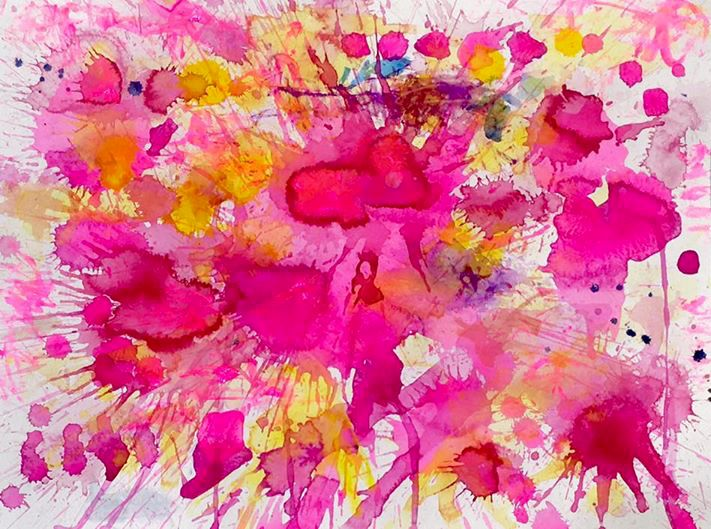 J. Steven Manolis, FLAMINGO 1832- 2016; 18 X 24; WATERCOLOR, GOUACHE, & ACRYLIC ON PAPER, Abstract expressionism paintings for sale at Manolis Projects Art Gallery, Miami, Fl