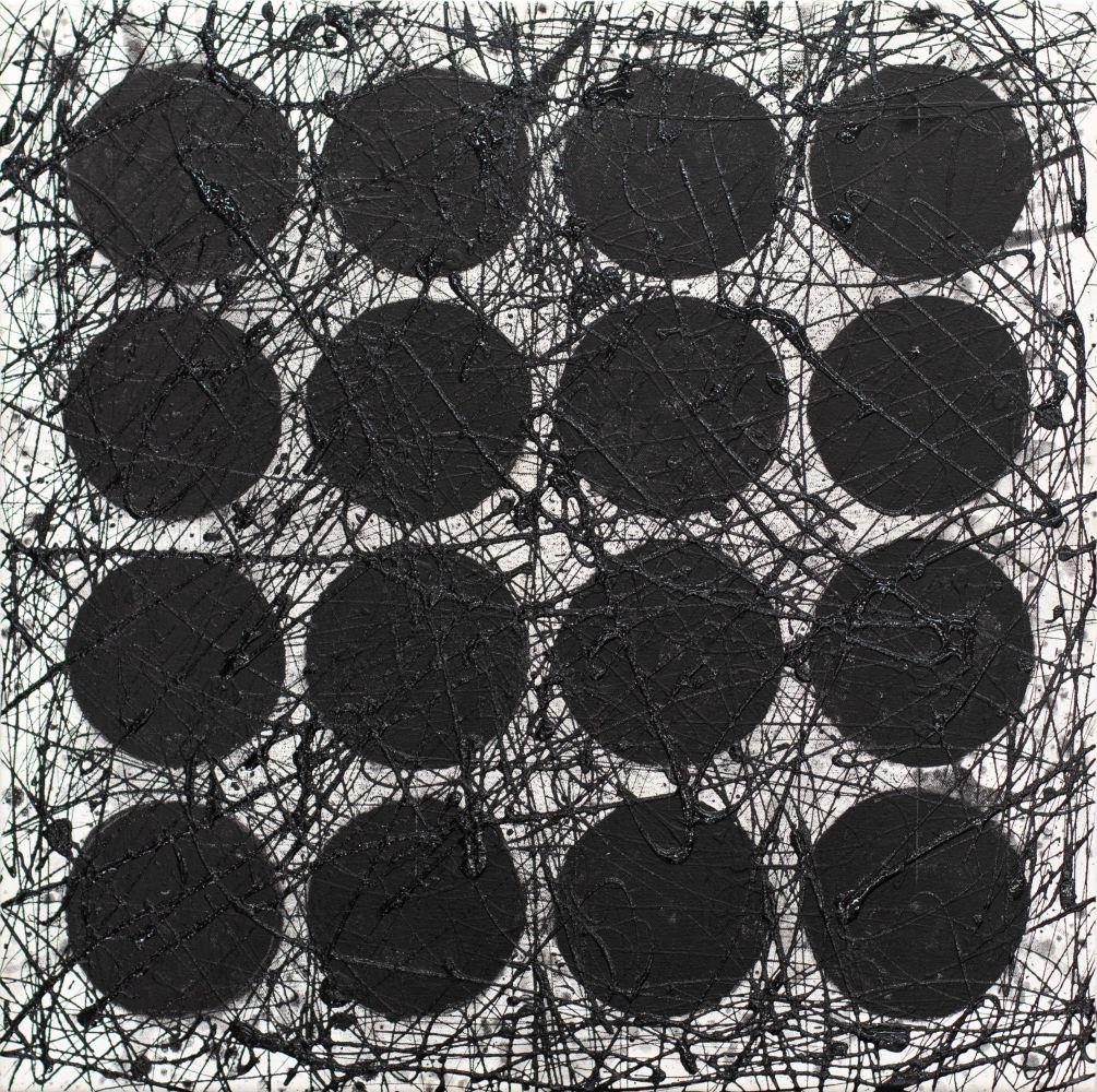 J. Steven Manolis, Black & White (Black Graphic), 2020, 24 x 24 inches, Acrylic and latex enamel on canvas