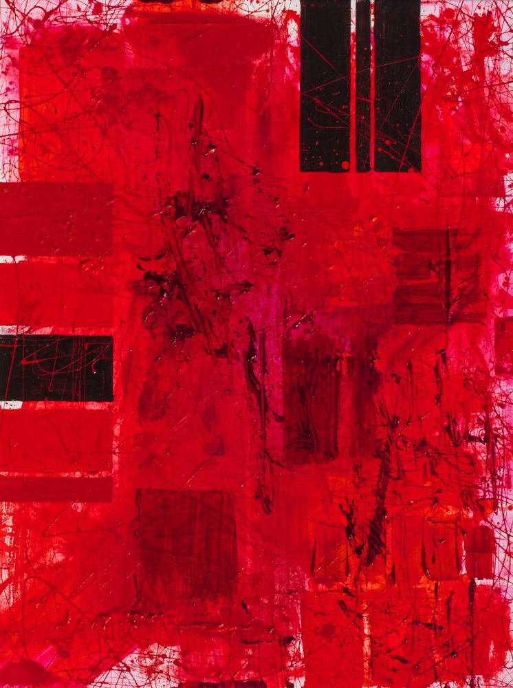 J. Steven Manolis, REDWORLD-diptych, 2019.02, acrylic and latex enamel on canvas, 48 x 36 inches, Abstract expressionism paintings for sale at Manolis Projects Art Gallery, Miami, Fl