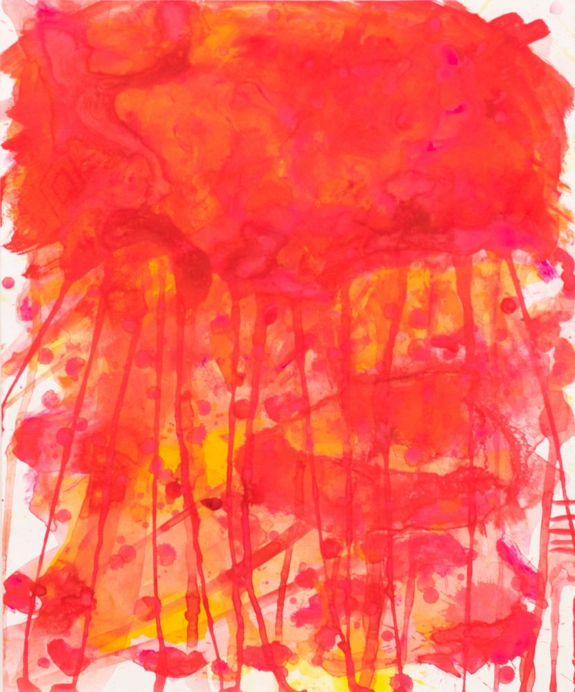 J. Steven Manolis, Red Jellyfish (17.14.04), 2016, watercolor, acrylic and gouache on paper, 17 x 14 inches, Abstract expressionism paintings For sale at Manolis Projects Art Gallery, Miami, Fl