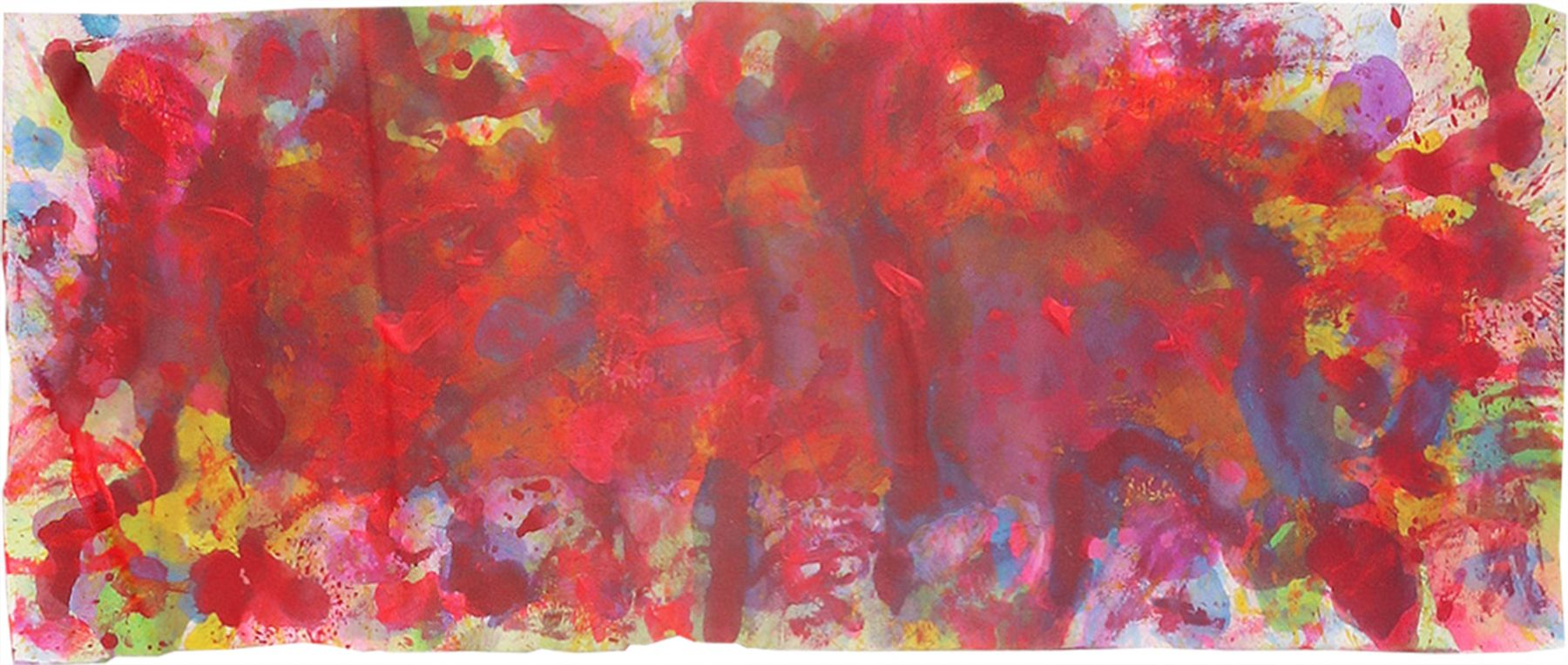 J. Steven Manolis, REDWORLD-Extravaganza, 2015, Acrylic and watercolor on paper, 9.5 x 23.5 inches(with-frame), Framed size 15.625 x 30.25 inches, Abstract expressionism paintings for sale at Manolis Projects Art Gallery, Miami, Fl