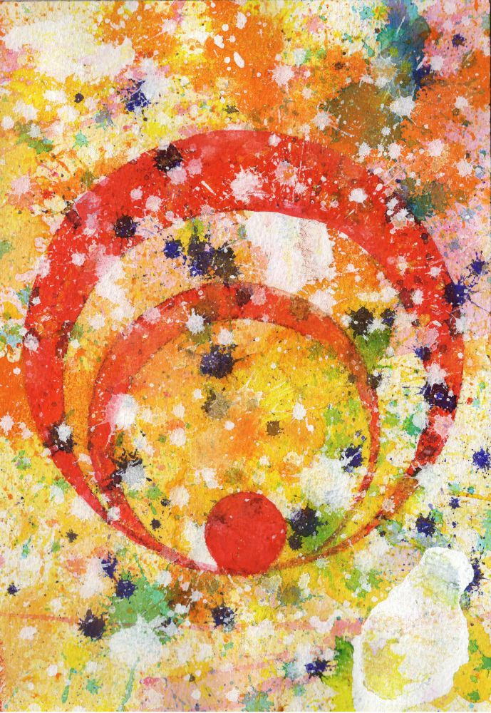J. Steven Manolis-Concentric 2014.03, watercolor, gouache & acrylic on paper, 10.25 x 7 inches, Abstract expressionism paintings for sale at Manolis Projects Art Gallery, Miami, Fl
