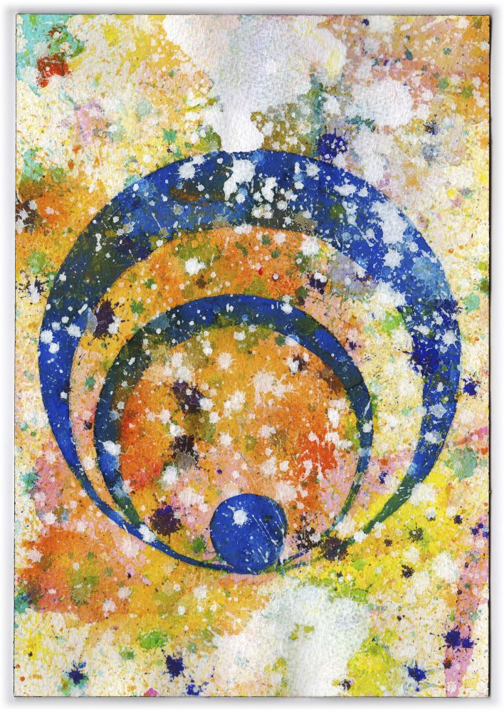 J. Steven Manolis, Concentric 2014.08, watercolor, gouache & acrylic on paper, 10.25 x 7 inches, Abstract expressionism paintings for sale at Manolis Projects Art Gallery, Miami, Fl