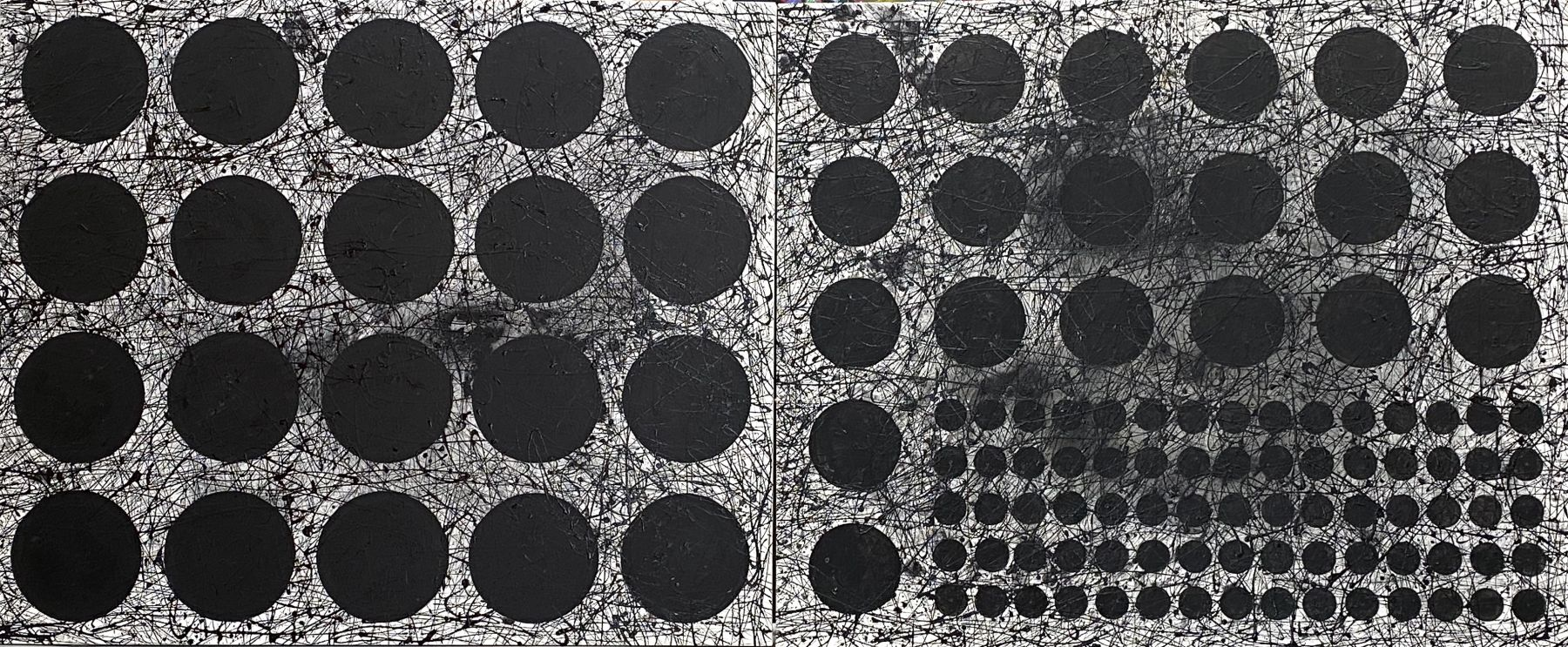 """J. Steven Manolis,  BLACK & WHITE (Graphic) 2020; 60""""X 144"""", Acrylic and latex on canvas, for sale"""