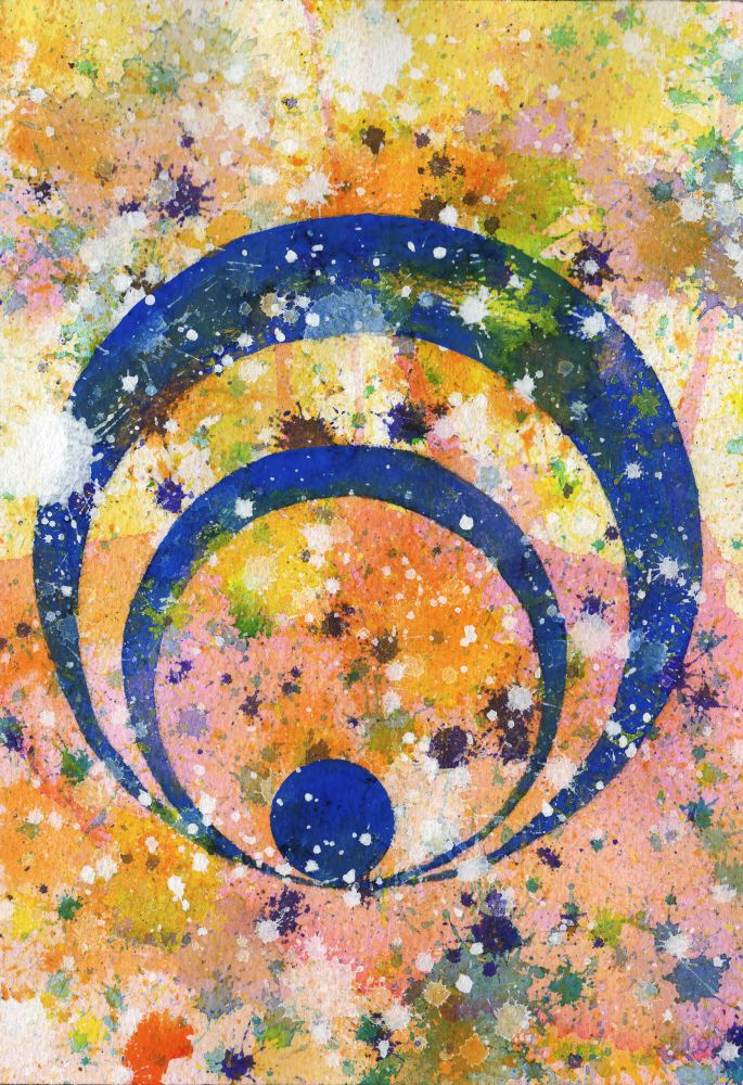 J. Steven Manolis-Concentric 2014.04, watercolor, gouache & acrylic on paper, 10.25 x 7 inches, Abstract expressionism paintings for sale at Manolis Projects Art Gallery, Miami, Fl