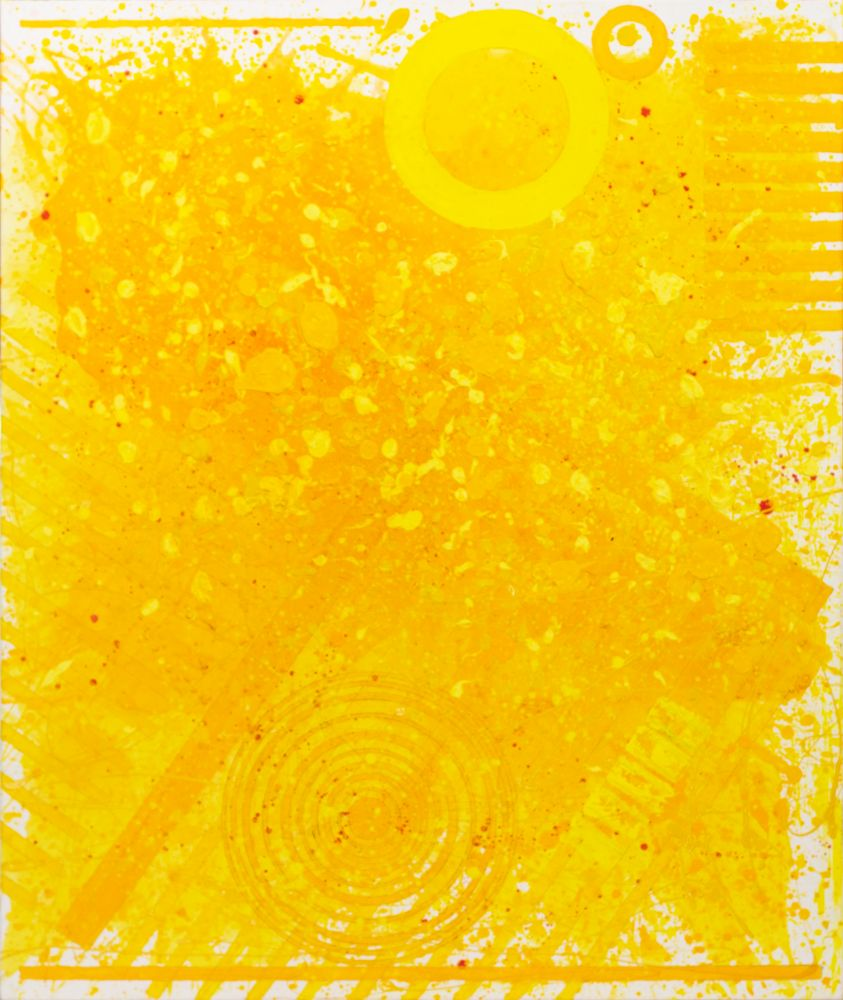 JSM, Sunshine (72.60.01), #1 sunshine series, 2020, Acrylic and Latex Enamel on canvas, 72 x 60 inches, Yellow Abstract Expressionism Paintings for Sale at Manolis Projects Art Gallery, Miami Fl