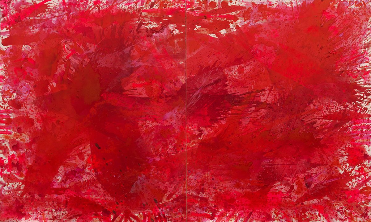J. Steven Manolis, Redworld, 2015, 72 x 120 inches, 2015.01, Abstract expressionism paintings for sale at Manolis Projects Art Gallery, Miami, Fl
