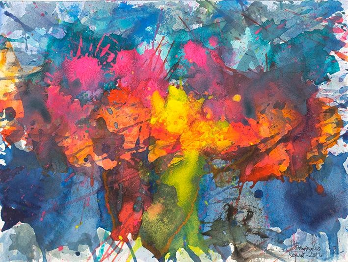 J. Steven Manolis,  Key West-Splash (Sunset), 12.16.10, 2016, Watercolor, Acrylic and Gouache on Arches paper, 12 x 16 inches, Abstract expressionism paintings for sale at Manolis Projects Art Gallery, Miami, Fl