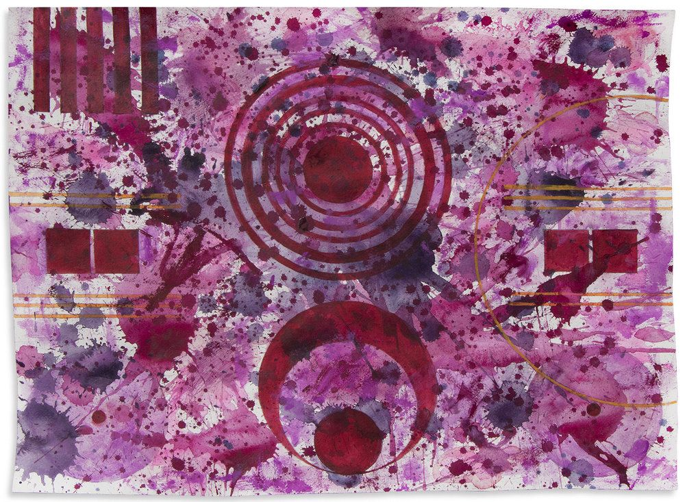 J. Steven Manolis, Qatari Rhapsodies Sonata 1, 2018, Watercolor on Arches paper, 18 x 24 inches, For sale at Manolis Projects Art Gallery, Miami Fl