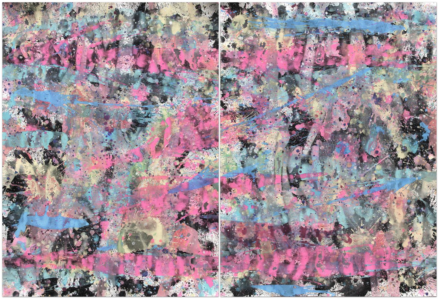J. Steven Manolis, Miami Vice, 2014, gouache and watercolor on paper, diptych, 60 x 88 inches, For sale at Manolis Projects Art Gallery, Miami Fl