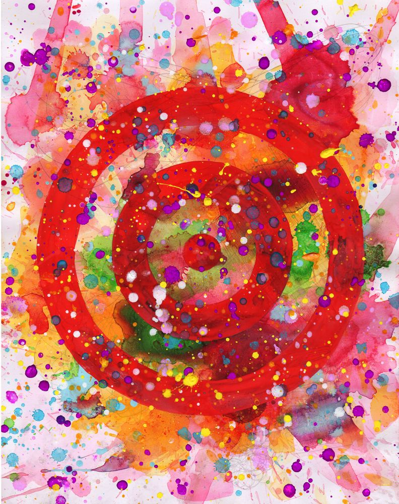 J. Steven Manolis-Concentric, 2014.02, watercolor, acrylic and gouache on paper, diptych 14 x 11 inches, Abstract expressionism paintings for sale at Manolis Projects Art Gallery, Miami, Fl