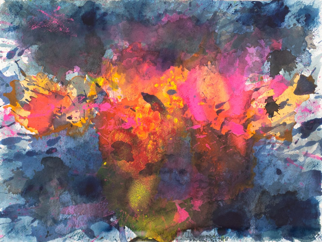 J. Steven Manolis, Key West-Splash (Sunset) 12.16.05, 2016, Watercolor, Acrylic and Gouache on Arches paper, 12 x 16 inches, Abstract expressionism paintings for sale at Manolis Projects Art Gallery, Miami, Fl