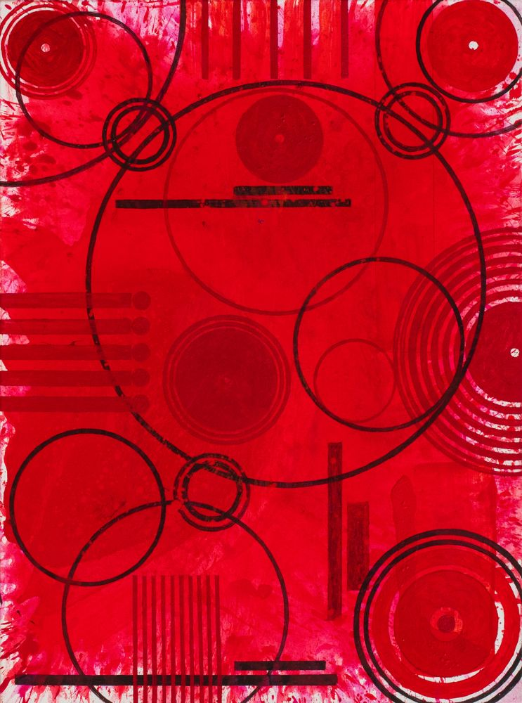 J. Steven Manolis, REDWORLD (CONCENTRIC), 2019, acrylic on canvas, 48 x 36 inches, Abstract expressionism paintings for sale at Manolis Projects Art Gallery, Miami, Fl