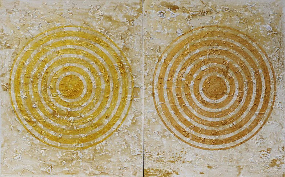 J. Steven Manolis, METALLICA Concentric (Renaissance Gold), 2018, Acrylic and Latex Enamel on canvas, 60 x 96 inches, For sale at Manolis Projects Art Gallery, Miami Fl