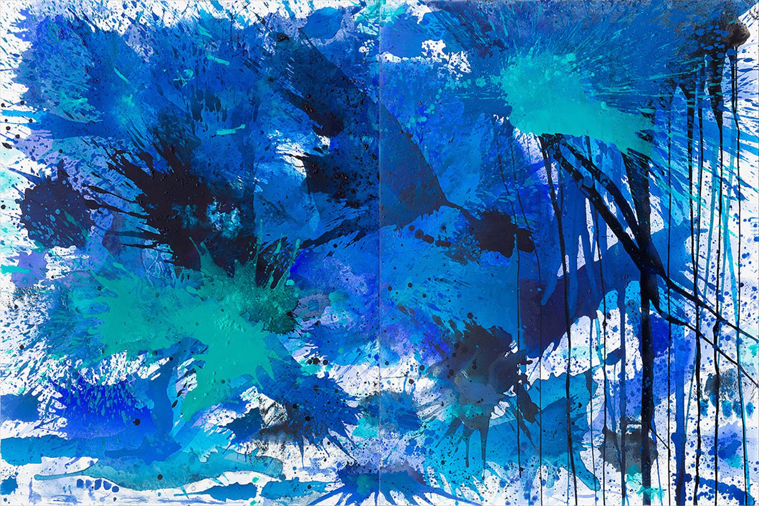 J. Steven Manolis, BlueLand Splash, 2015, 48 x 72 inches, Abstract expressionism paintings for sale at Manolis Projects Art Gallery, Miami, Fl