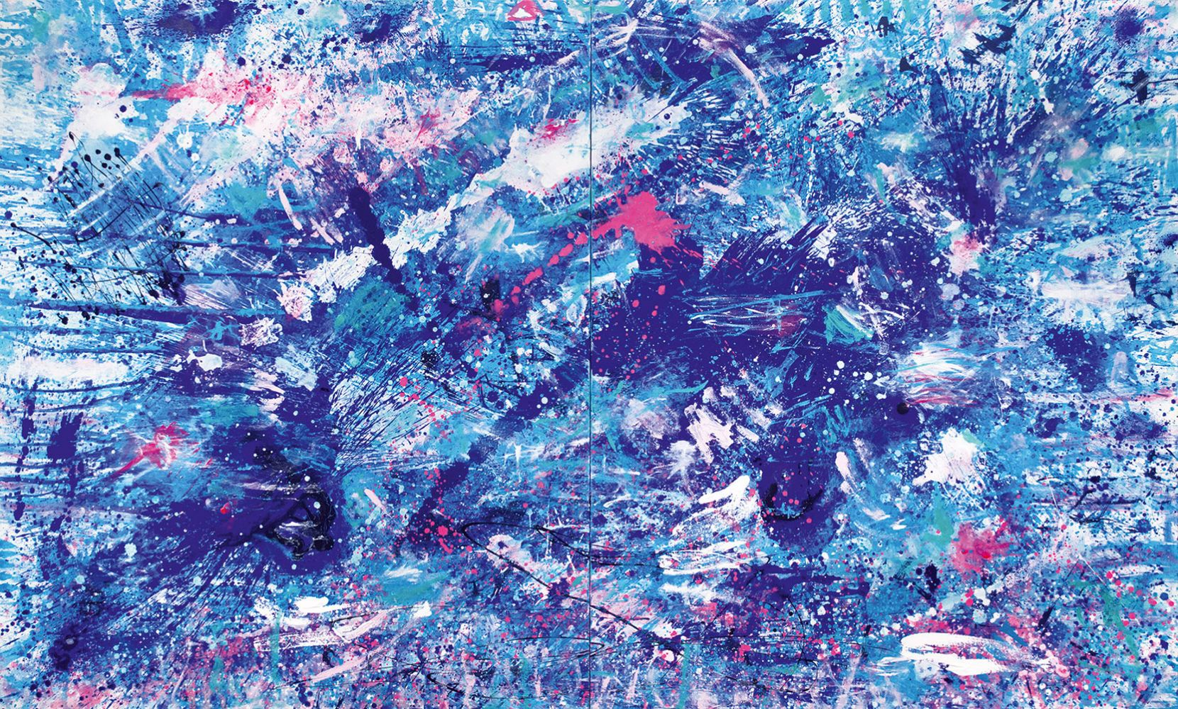 J. Steven Manolis, Splash (Pink Sands), 2016, 72 x 120 inches, Acrylic on canvas, Abstract expressionism paintings for sale at Manolis Projects Art Gallery, Miami, Fl