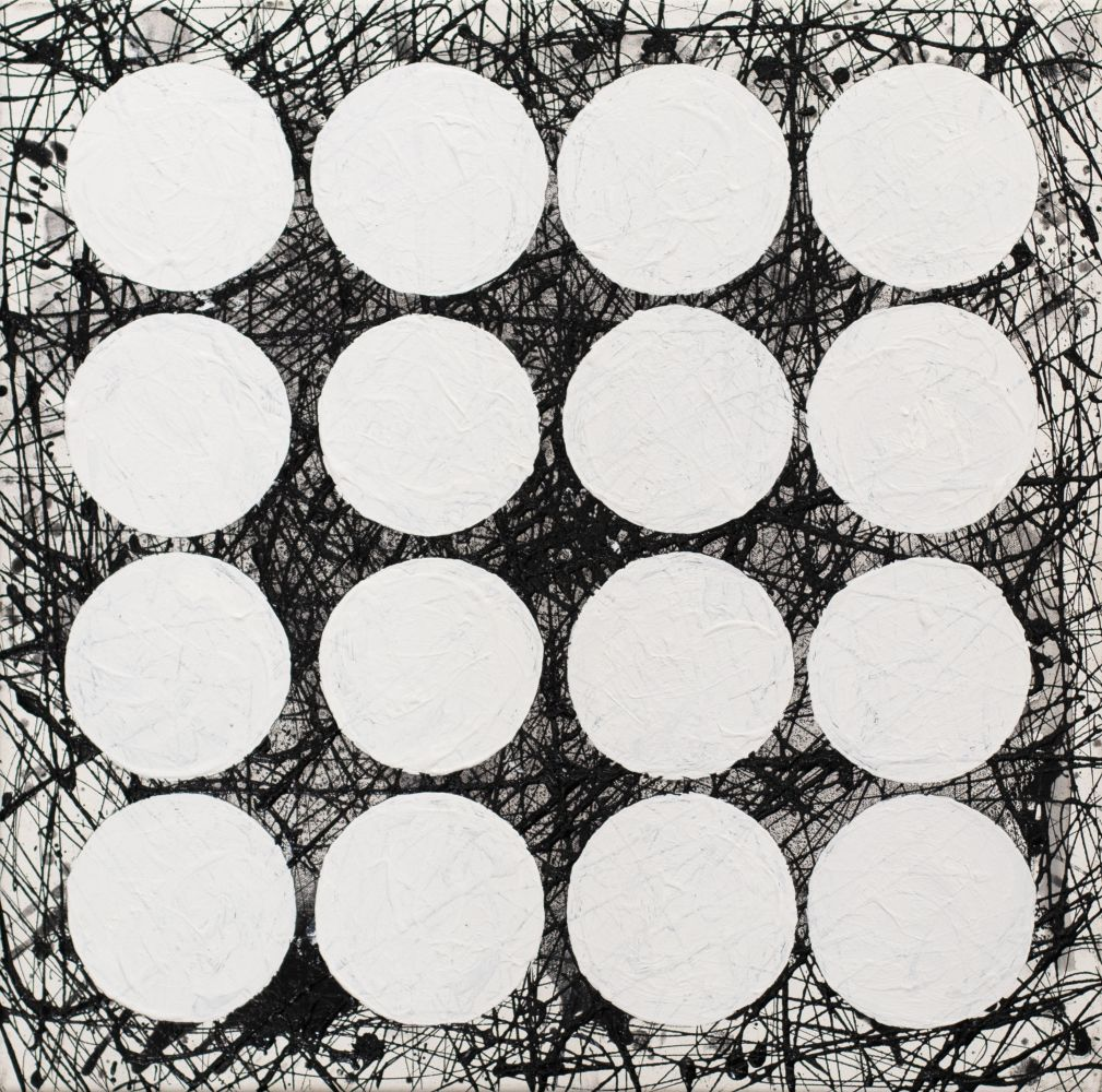 """J. Steven Manolis,  BLACK & WHITE (GRAPHIC) 2020, 24""""H X 24""""W, Acrylic and latex on canvas, for sale"""