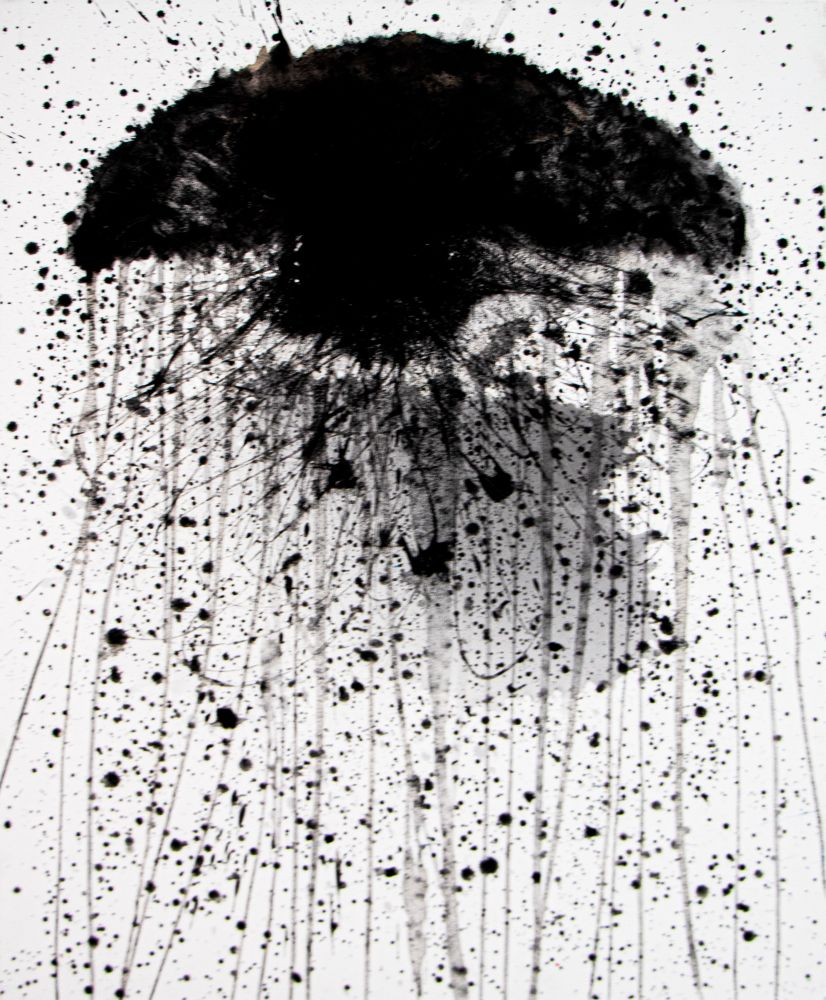 J. Steven Manolis, Jellyfish (Black), 2020, acrylic on canvas, 40 x 30 inches, Abstract expressionism paintings For sale at Manolis Projects Art Gallery, Miami, Fl
