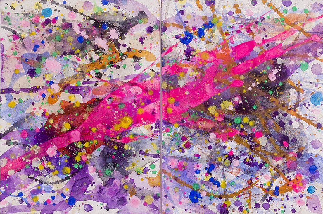 J. Steven Manolis, Pink Lightning 2014.01, watercolor and gouache-diptych 16 x 24 inches, 21 x 31 inches framed, For sale at Manolis Projects Art Gallery, Miami Fl