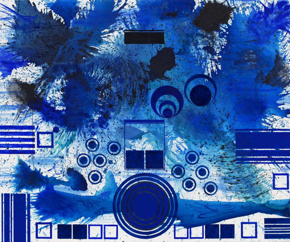 J. Steven Manolis, BlueLand Splash (Palm Beach)_2018_Acrylic on canvas, 60 x 72 inches, Abstract expressionism paintings for sale at Manolis Projects Art Gallery, Miami, Fl