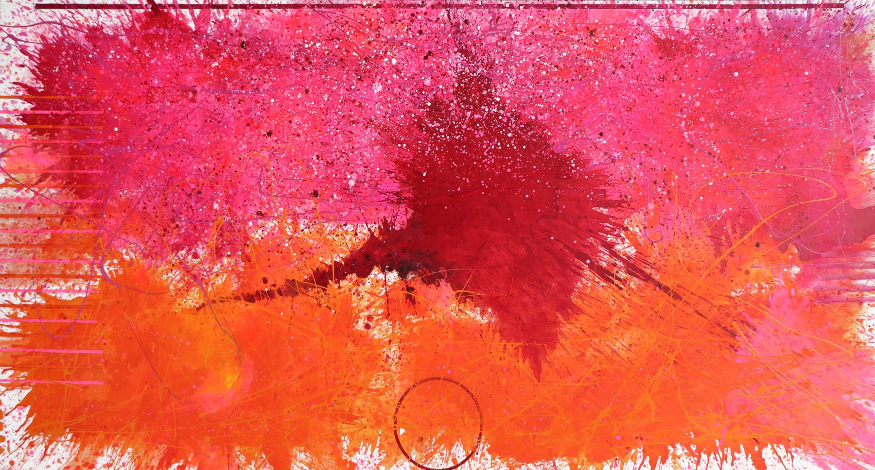 J. Steven Manolis, Flamingo, 2019, Acrylic and Latex Enamel on canvas, 72 x 120 inches, Abstract expressionism paintings for sale at Manolis Projects Art Gallery, Miami, Fl