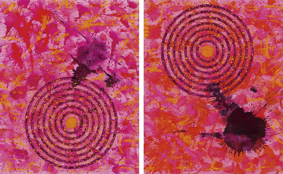 J. Steven Manolis, Flamingo-Diptych(Social-Conscious)1832-2016, 2016, 60 x 96 inches, 60.96.0, Abstract expressionism paintings for sale at Manolis Projects Art Gallery, Miami, Fl