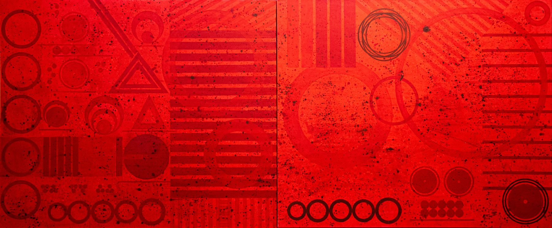 J. Steven Manolis, REDWORLD GLAZE (Self Portrait), 2020, 60H x 144W, Acrylic on Canvas, Abstract expressionism paintings for sale at Manolis Projects Art Gallery, Miami, Fl
