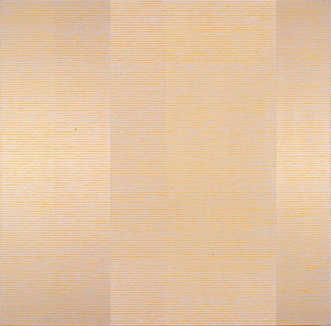 "FLOW - GREY OVER YELLOW, 1997 Acrylic on canvas, 54 x 54"""