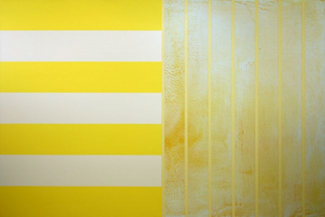 """YELLOW GREEN GREY, 1999 Acrylic on canvas 54 x 72"""" Private Collection"""