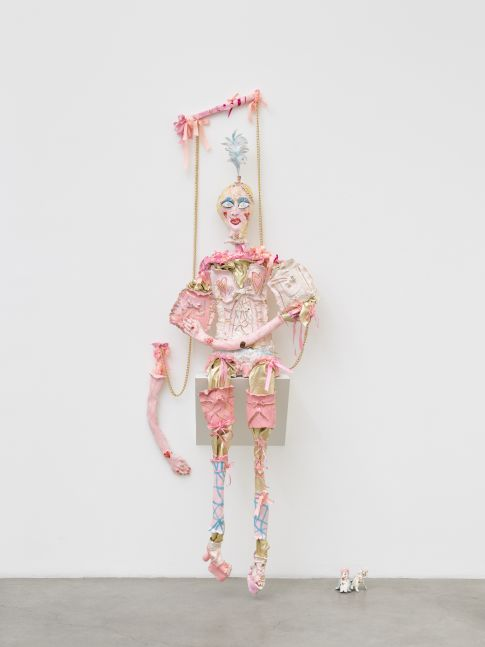 Liz, 2020 faïence, sugar glaze, gold lustre, ribbons, leather, gold chain Dimensions variable, Overall: 97 x 35 x 18 in (246.4 x 88.9 x 45.7 cm)