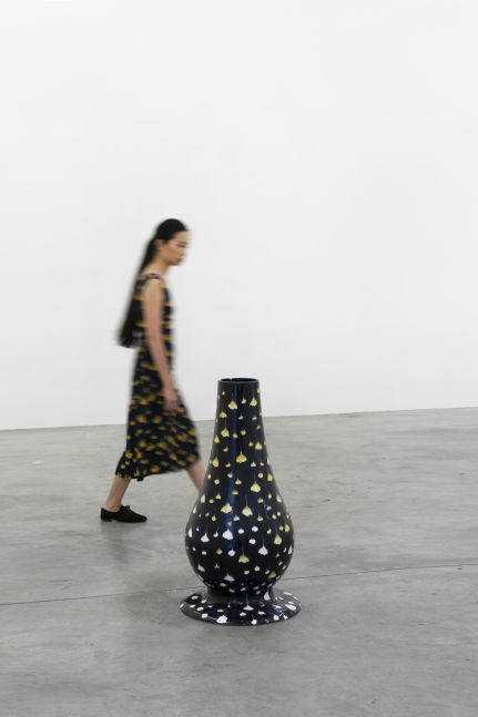 Tania Pérez Córdova (b. 1979)  Portrait of an Unknown Woman Passing By, 2019  Glazed ceramic, woman wearing a dress occasionally  35.43 x 19.69 inches  90 x 50 cm