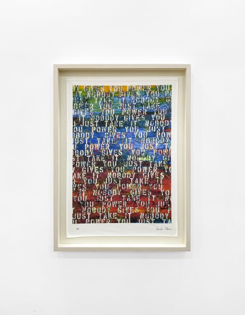 Framed View - Ghada Amer, Untitled (based on Sunset with Words - RFGA, 2013), 2020