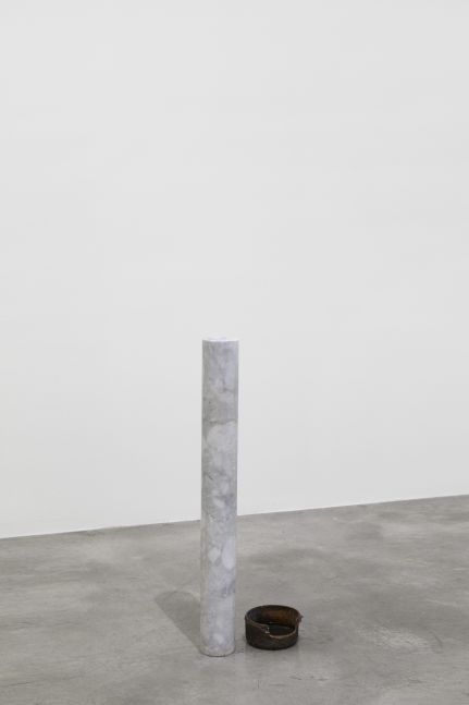 Tania Pérez Córdova (b. 1979) To wink, to cry, 2020 Marble, cooper cast, artificial tears, cosmetic contact lens, a person wearing one contact lens of a color different to her/ his eyes occasionally 32.01 x 4.88 x 4.88 inches 81.3 x 12.4 x 12.4 cm