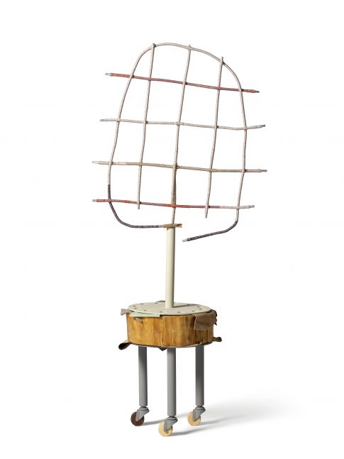 Suki Seokyeong Kang (b.1977) Tender Meander #20-01, 2018-2020 Assembled units: painted steel, thread, wire, tree trunk, leather scraps, nail, wooden wheels 55.91 x 22.44 x 12.8 inches 142 x 57 x 32.5 cm