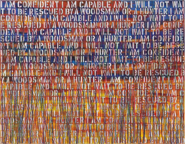 Ghada Amer (b. 1963) The Hunter-RFGA, 2020 Acrylic, embroidery, an gel medium on canvas 42 x 50 inches 106.7 x 127 cm