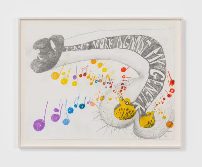 Bendix Harms I can't work against my Genetik, 2012 Wax crayon on paper 19 3/4 x 25 5/8 in 50 x 65 cm (BHA20.011)