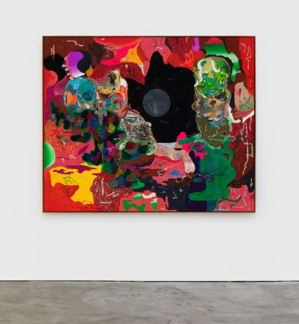 Michael Bauer Red Cave and Sculpture, 2020 Oil, crayon, pastel and acrylic on canvas 60 1/2 x 73 in 153.7 x 185.4 cm (MBA20.002)