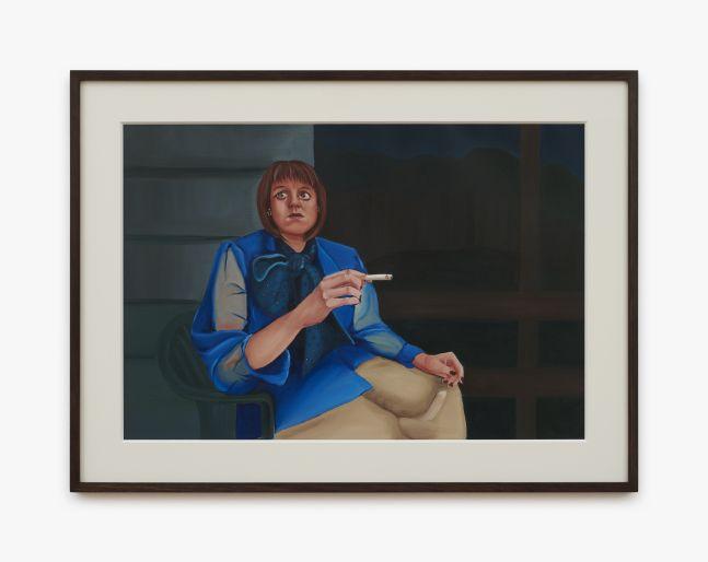 Madeleine Pfull, Porch Lady, 2020. oil on paper, 19 3/4 x 26 5/8 in, framed 50 x 67.5 cm, framed (MP20.027)